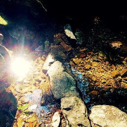 lenflare water rock
