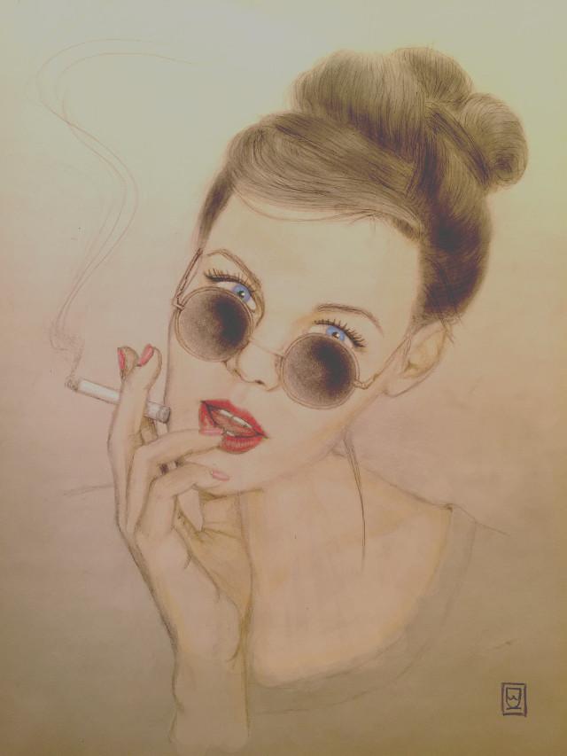 #art #stars #smokinggirl #blackhair #sunglasses #redlips