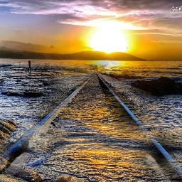 fterailway sea nature photography sun