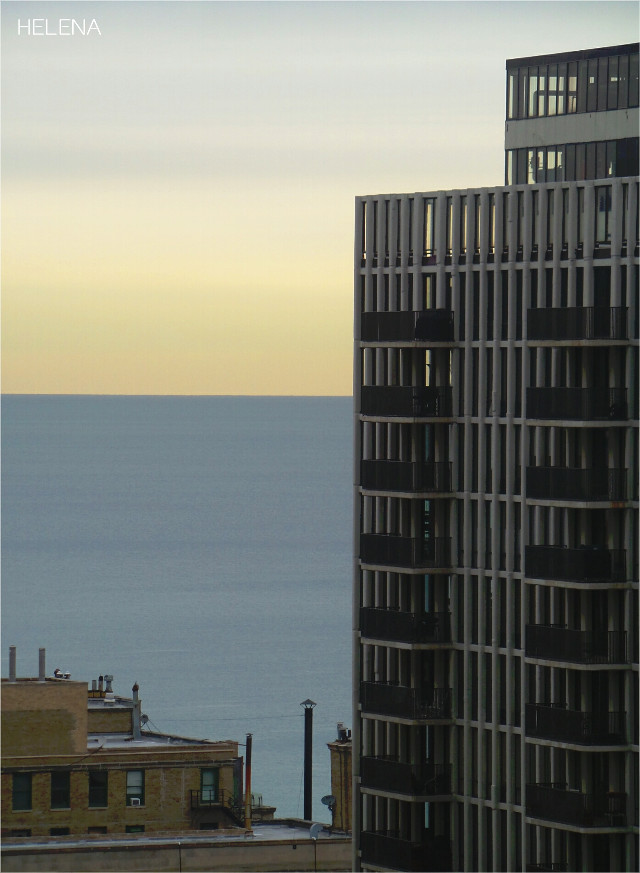 From the 22nd floor, Lake Michigan looks like a backdrop :) #throughmywindow #chicago #city #architecture #lakemichigan #urban
