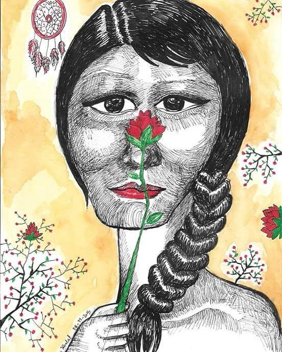 The flower #ink #watercolors #aquarelle #paintings #drawings #portrait