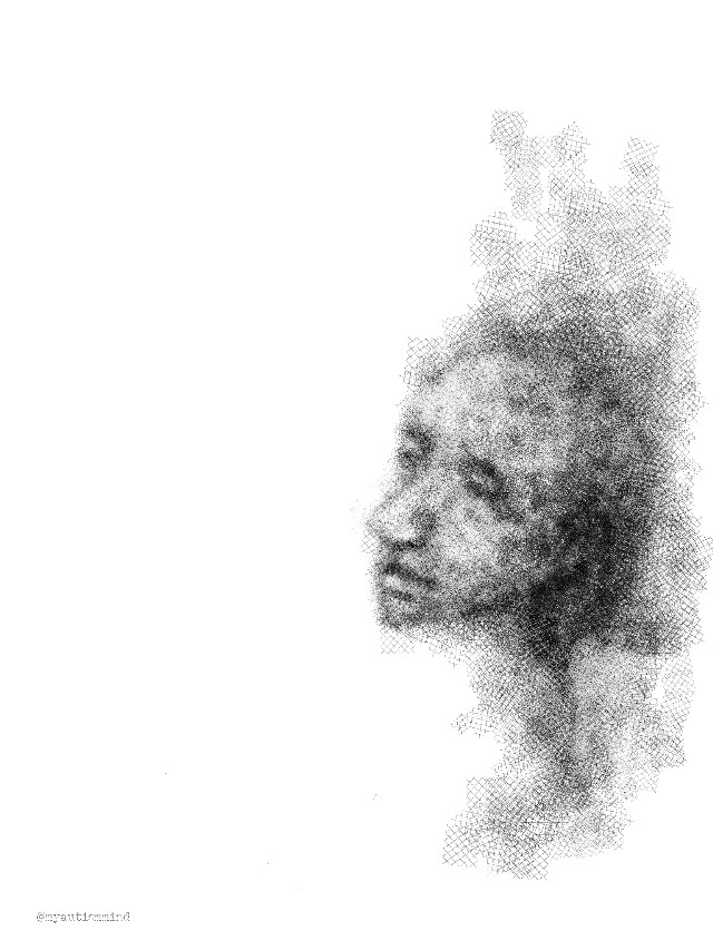 Finally I got my tablet and pen to work again. And what was in my mind? A new face :-)  #people #blackandwhite #pencilart #emotions