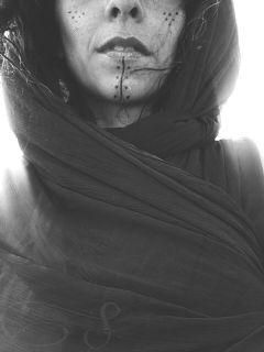 berber tattoo blackandwhite mouth veil