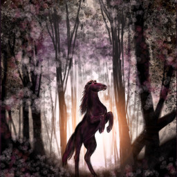 wdptreeline drawing horse digitalart forest