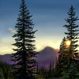 wdptreeline drawing artwork sunset mountains