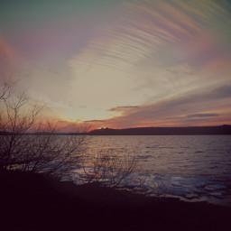 ice sunset lake