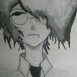 sketch anime animeboy handmade blackandwhite