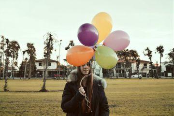 happy girl balloons photography people