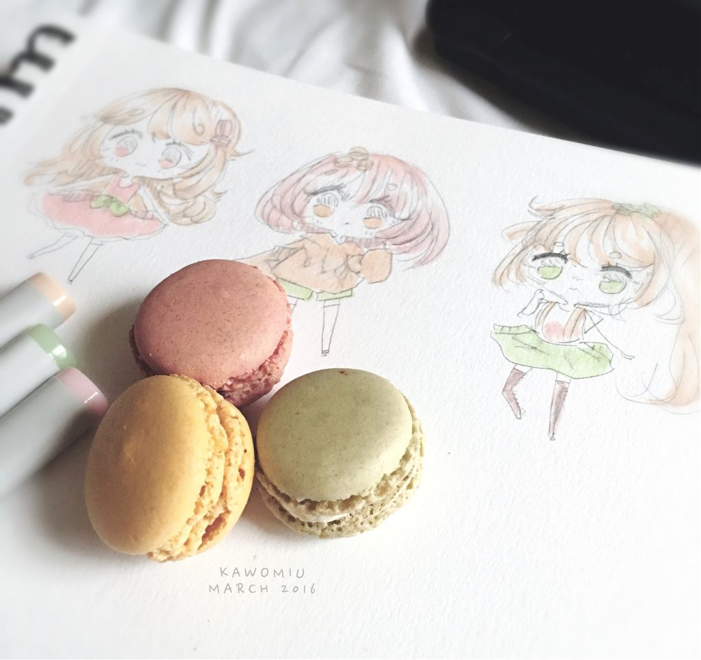 Did a warm up sketch with macaron related themes wwwww I rarely get macarons so i just wanted to take a pic of them before they go in my stomach LOL Sorry for the mass amount of chibis ive been doing xD.. I will get on my tablet and start doing digital art