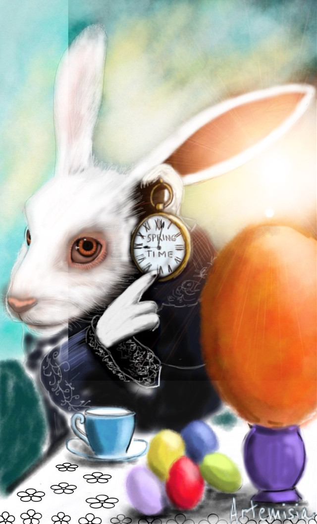 White rabbit spring time.  Vote and repost if you like 😊🐣🌸🌷 #wdpbunny #drawing #cartoons