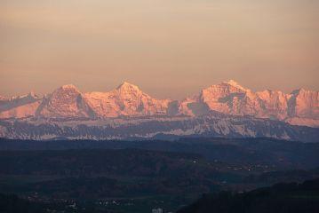 sunset mountains switzerland nature snow