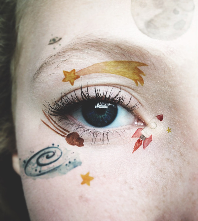 It happens all in space💫 #space #interesting #art #photography #eyes #eye #blueeyes #stars #moon #alien #watercolour #watercolor              #FreeToEdit