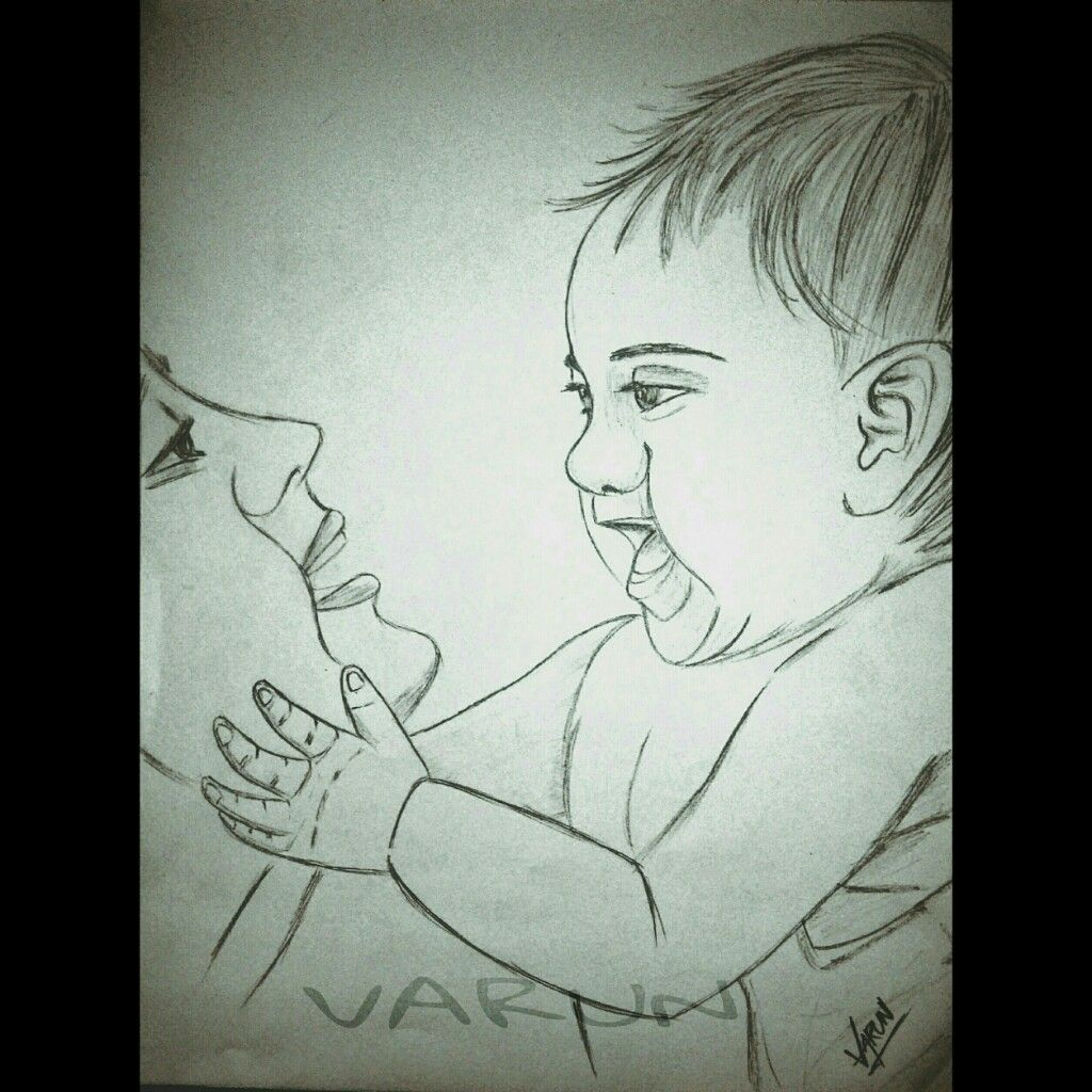 Mother baby love cute sketch pencil art