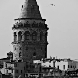 istanbul blackandwhite galata tower architecture