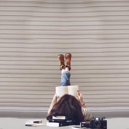 FreeToEdit books read girl feet shoes boots combatboots camera wall remix interesting
